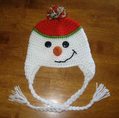 CROCHET PATTERN HAT Snowman Beanie and Earflap Pattern, Newborn to Adult Sizes Included (pdf). $2.99, via Etsy.