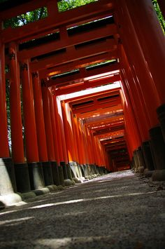 Fushimi Inari Shrine, Kyoto, Japan.  ....This is not an actual bridge but a path consisting of 10,000 shrine gates along a two mile trail.