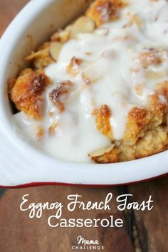 Almost the best part of Christmas Eve: Eggnog French Toast Casserole Brunch Recipes, Breakfast Recipes, Dessert Recipes, Brunch Dishes, Breakfast Ideas, Xmas Recipes, Desserts, Brunch Ideas, Eggnog French Toast