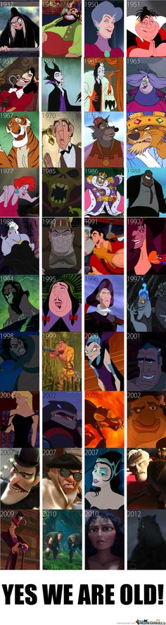 Villians of disney movies over the years. This makes me feel old. A lot of people are real fans of the Disney villains, but there are only a few I actually like. Disney Pixar, Walt Disney, Disney Facts, Disney And Dreamworks, Disney Animation, Disney Characters, Funny Disney, Disney Villains Funny, Maleficent Funny