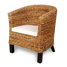 Handwoven Real Natural Rattan Wicker Abaca Armchair w/ Solid Mango Wood Frame Living Room Furniture