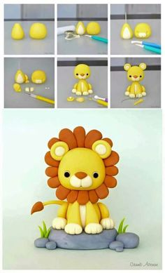 Fondant Lion Tutorial - this can be a cake or cupcake topper, depending on the size.Lion Tutorial by Crumb Avenue - For all your cake decorating supplies please vi. More info could be found at the image url. Lion Tutorial by Crumb Avenue - For all your ca Fondant Cupcakes, Fondant Cake Toppers, Cupcake Toppers, Fondant Rose, Fondant Baby, Fondant Flowers, Baking Cupcakes, Cake Decorating Supplies, Cake Decorating Techniques