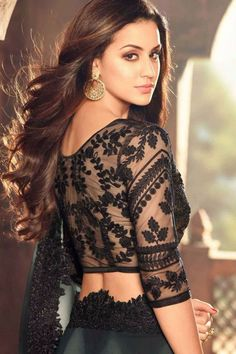 Did you know that a black blouse can go well with any saree? In this article, we have listed some of the best Black Blouse designs, which are suitable for different occasions. Indian Blouse Designs, Black Blouse Designs, Netted Blouse Designs, Blouse Neck Designs, Blouse Styles, Kitenge, Cheongsam, Dresses Elegant, Indian Fashion Trends