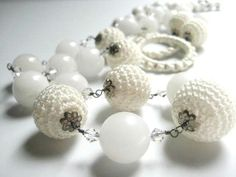 VINTAGE Long Necklace Milk Glass with Crystal Facet Cut Aurora Beads $15