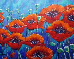 Poppy painting Love my Poppies original large floral  painting. $380.00, via Etsy.