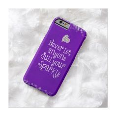 Purple Girly Inspirational Sparkle Quote Barely There Iphone 6 Case (2,070 PHP) ❤ liked on Polyvore featuring accessories, tech accessories and phone cases