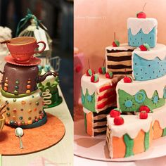 alice in wonderland party ideas cake on the left. (I make crooked cakes naturally...lol should be easy!)