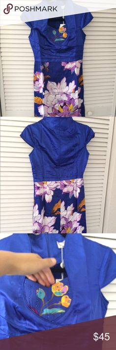 Brand new with tag blue floral prints dress Brand new with tag Dresses