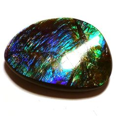 Ammolite Cabochon Stabilized Vibrant Blue Green by saxdsign