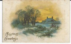 Beautiful 1908 Merry Christmas  Linen Postcard by COLLECTORSCENTER on Etsy