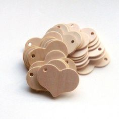 Unfinished Wooden Heart Tags  225 inch x 175 inch  by LessMagnets, $18.50
