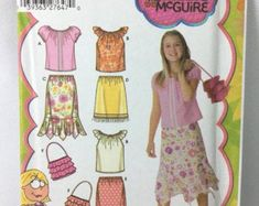 Items similar to Simplicity 5119 Lizzie McGuire Girl's Sewing Pattern Boho Peasant Top Ruffle Hem Skirt, Ruffled Purse Size - on Etsy Plus Size Sewing Patterns, Childrens Sewing Patterns, Vintage Sewing Patterns, Clothing Patterns, Sewing Ideas, Fashion Sewing, Kids Fashion, 2000s Fashion, Mommys Girl