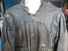 1986 Black Guess Denim Leather jacket  Marty McFly back to the future on Etsy, $75.00