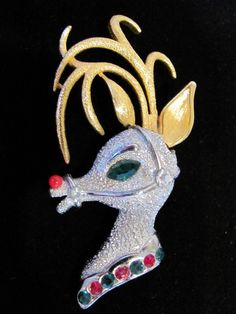 Vintage TANCER II Signed Lg. Two Tone Gold and Silver with Red Green Clear Rhinestones Rudolph Red Nosed Reindeer Figural Holiday Brooch Pin by VintagePolice4U on Etsy