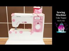 Sewing Machine Cake Topper - YouTube Sewing Machine Cake, Sewing Cake, Diy Sewing Table, Sewing Machines, Sewing Ideas, Cake Topper Tutorial, Fondant Tutorial, Cake Toppers, Easy Fondant Cupcakes