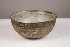 Axel Salto stoneware bowl with a streaming Sung glaze and herringbone channeled walls, Royal Copenhagen, Denmark, circa 1950 | Designers Collaborative