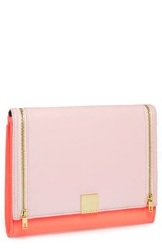 $145, Pink Leather Clutch: Ted Baker London Leather Clutch Bright Pink. Sold by Nordstrom. Click for more info: https://lookastic.com/women/shop_items/89458/redirect