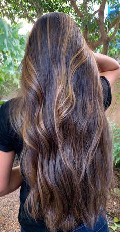 Long Silky Hair, Long Hair Cuts, Long Hair Styles, Gorgeous Hair Color, Beautiful Long Hair, Tiger Eye Hair Color, Hair Color Highlights, Caramel Highlights, Hair Color Caramel