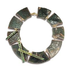 Amazone necklace by Thierry Vendôme, white gold, oxidized silver, tourmalines, peridots and engraved antique jade. One of a kind.