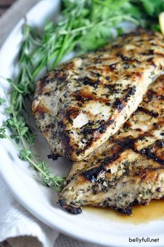This simple no-fail grilled chicken recipe can be enjoyed with any vegetable for an easy meal. Use up any left overs in a sandwich the next day!