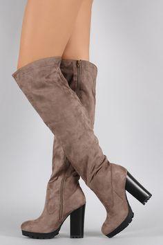 Bamboo Over the Knee Platform Chunky Lug Boots #styleinspo #boots #avasarmoire