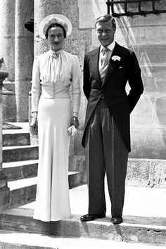 The 1937 marriage of Wallis Simpson and Prince Edward wasn't a royal wedding because the prince had decided to abdicate the throne in order to marry divorcee Mrs Simpson. The bride wore a simple blue dress with a fitted waistband, gathered bodice all finished off with a hat.