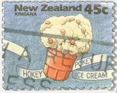 postage stamp - Hokey Pokey icecream, New Zealand's favourite flavoured icecream. Divine vanilla with hokey pokey balls. The Best Flavour! Ice Cream Spoon, Make Ice Cream, Crunchie Bar, Natural Ice Cream, Ice Cream Companies, Kiwiana, Stamp Printing, All Things New, Stamps