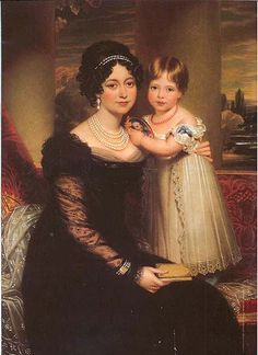 Mourning 1819.  Princess Victoria (future Queen Victoria of England) and her mother Princess Victorie of Kent.