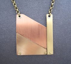 Modernist Mixed Metals Extra Large Necklace by FirednWiredJewelry