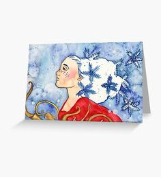 Snowflake Fairy Greeting Card Blue Art, Samhain, Yule, Pagan, Snowflakes, Fantasy Art, Original Paintings, Illustration Art, Greeting Cards