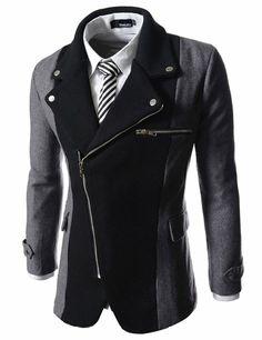 TheLees Mens casual rider style slim zipper blazer jacket Charcoal Large(US Medium)