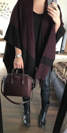 #winter #fashion /  Burgundy Cape + Leather Leggings