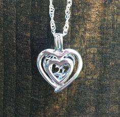 SS Twin Heart Pearl Cage Pendant