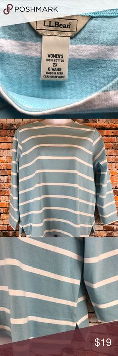 L.L. Bean Womens Size 2X Cotton Long Sleeve Shirt Barely Worn. L.L. Bean Women Plus Size 2X Shirt. Long Sleeves.  Light blue and white striped.  Made of 100% Cotton. Chest approximately 53 inches and length approximately 28 inches.  Please visit our Store for a great selection of items. We also have a large selection of over 1,000+ PLUS! Buy with confidence with our 3K+ Feedbacks. Measurements are approximate. Your business is appreciated. Thank you, L.L. Bean Tops Blouses