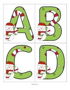 FREE Set of large upper and lower case letters with a Christmas theme. Use to make matching,recognition and letter sequencing games Large enough for bulletin board and room décor.