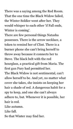 """If Fall ends Winter is coming"" Natasha and her sentimentalities"