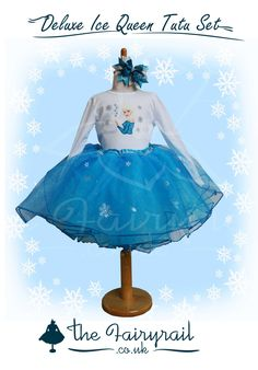 Personalised Ice Queen Tutu, Top and Bow set by TheFairyrail on Etsy https://www.etsy.com/listing/477251220/personalised-ice-queen-tutu-top-and-bow