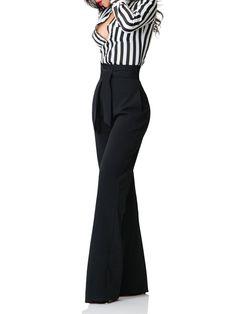 """""""Camila"""" Belted High Waist/Wide Leg Pants"""