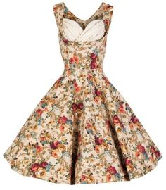 Vintage Bridal or Bridesmaid Dresses in beige / ivory floral style perfect for weddings as a bridal dress, bridesmaids dress and wedding dresses for guests. Comes with a ruched bust line and matching belt available in various colours and plus sizes! UK 6 - 26 #plussize #wedding #dresses #bridesmaids #UK #vintage #retro #hepburn #1950s #beautiful #floral #1940s