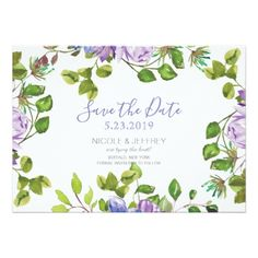 Spring Purple Flowers Country Wedding Save Date Card - customize create your own #personalize diy & cyo