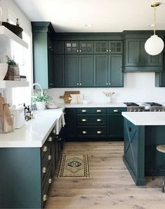 If you are looking for Green Kitchen Cabinets Design Ideas, You come to the right place. Here are the Green Kitchen Cabinets Design Ideas. Green Kitchen Cabinets, Refacing Kitchen Cabinets, Painting Kitchen Cabinets, Kitchen Cabinet Design, Kitchen Decor, Kitchen Ideas, Dark Cabinets, Diy Kitchen, Kitchen Hacks