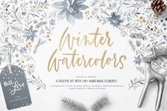 Ad: Winter Watercolors Kit by Every Tuesday on Boost your winter stationery designs with this handmade kit of over 140 winter watercolors! This kit is packed with: - 5 custom arrangements Watercolor Kit, Watercolor Texture, Watercolor Illustration, Watercolor Flowers, Watercolor Background, Creative Illustration, Graphic Illustration, Art Design, Graphic Design