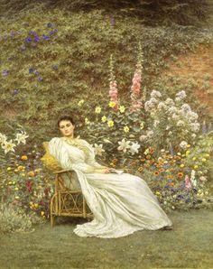 19thcentury:    Helen Allingham 'In The Garden', c.1890