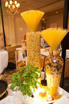 51 Ideas For Wedding Food Table Decorations Events Italian Party Decorations, Italian Centerpieces, Food Table Decorations, Decoration Buffet, Deco Buffet, Deco Table, Party Centerpieces, Pasta Bar Party, Italian Themed Parties