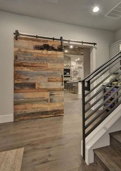 Modern Farmouse Foyer with Reclaimed Barn Door. Modern Farmouse Foyer with Reclaimed Barn Door. Farmhouse Interior, Interior Barn Doors, Modern Farmhouse, Modern Barn, Farmhouse Ideas, Farmhouse Design, Rustic Modern, Farmhouse Style, Farmhouse Stairs