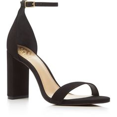Vince Camuto Mairana Perforated Ankle Strap High Heel Sandals ($115) via Polyvore featuring shoes, sandals, black, heeled sandals, leather heeled sandals, leather sandals, black sandals and ankle tie sandals