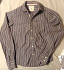Hollister Brown Striped Long Sleeve Button Down Shirt Cotton Mens  S