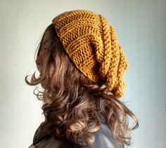 Winter Boho Outfits, Mustard Yellow Hat Knit Slouchy Hat Knit by DragonflyStrand