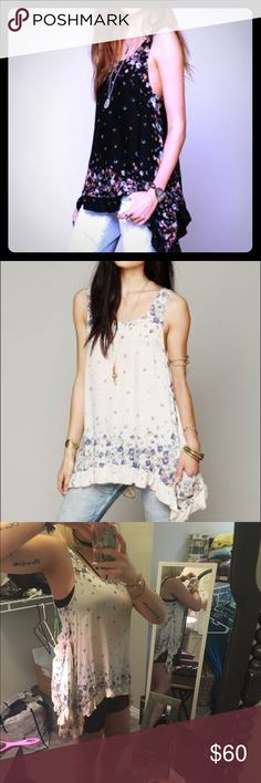 Free People Border Print Sleeveless Tunic- Cream RARE and beautiful floral slip dress/tunic. Longer on the sides! Cream color with beautiful floral print. No flaws, perfect condition. Free People Tops Tunics