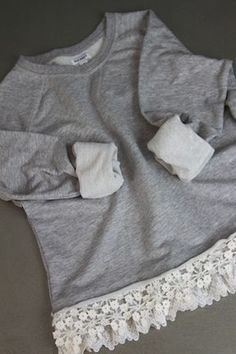 Sewing Clothes For Men nice idea for making a boring mens sweatshirt unique and cute. Show Me Cute: No Sew Lace Sweatshirt Sweatshirt Refashion, Lace Sweatshirt, Clothes Refashion, Refashion Dress, Refashioned Clothes, Lace Sweater, Sewing Hacks, Sewing Crafts, Sewing Projects